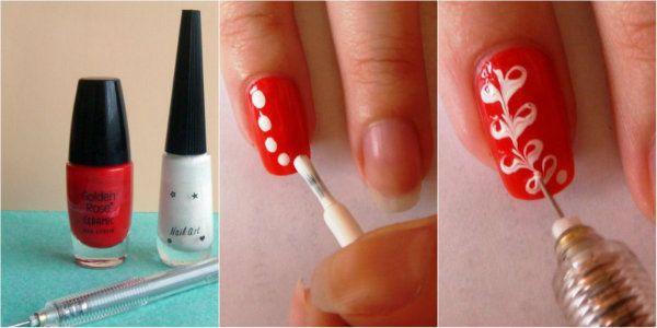 napraviti crteže na noktima iglu